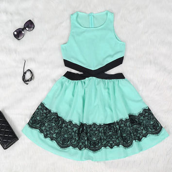 Teal Lace Cutout Dress