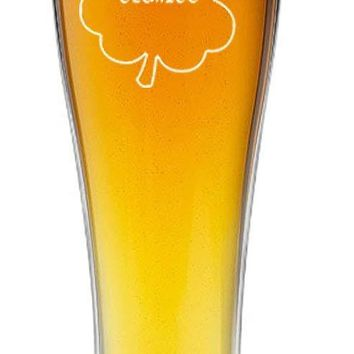 Irish Gaelic Cheers Slainte Green Shamrock Toast - 15 oz Pilsner Beer Glass