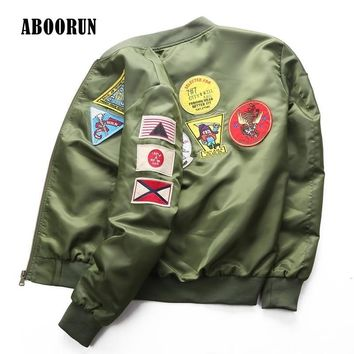 Trendy ABOORUN New Mens Bomber Jacket Air Force Pilot Jacket Vintage Windbreaker for Couples Army Green Black W4065 AT_94_13