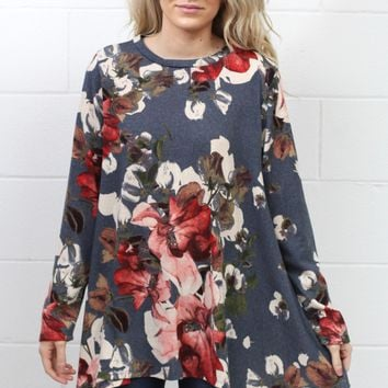 All About Florals Sweater Knit Shark Bite Tunic {Grey}