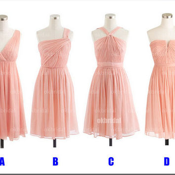 2015 Peach Bridesmaid Dress Sexy V-Neck Strapless Short Summer Dress Pleated Chiffon Simple Short Wedding Party Gowns