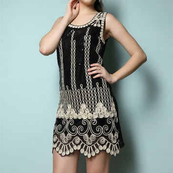 Hot Sale 1920'S STYLE GATSBY VINTAGE LOOK CHARLESTON SEQUIN FLAPPER DRESS SIZE 10/12 89072