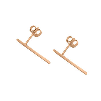 Rose Gold Long thin wire studs by Matthew Calvin