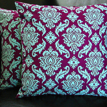 "Pillows DAMASK Accent Pillow Covers set of TWO 16x16 Toss Pillows 16"" Joel Dewberry Aviary 2 Plum & Aqua"