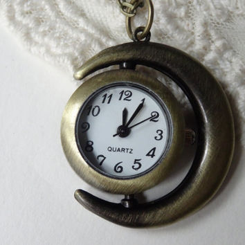 1- Sun Moon Pocket Watch Necklace Real Vintage Spinning Open Face Analog Celestial Clock Pendant Inv0114