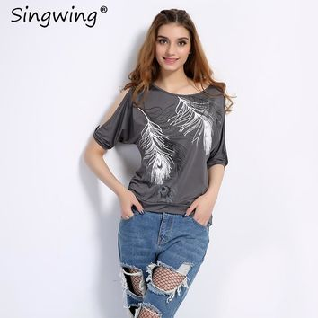 Singwing Feather Printed T-shirts Summer Women O- neck Loose Type Shirts Casual Off Shoulder Short-sleeved T-shirt Female