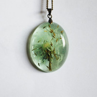 Dandelion Necklace Green Make a Wish Mint Aqua Fluffy Seeds Real Flower Oval Summer Resin Pendant