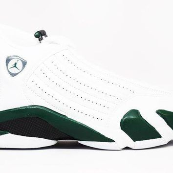 LMF8UH [FREE SHIPPING] Air Jordan 14 Retro Black Forest Basketball Shoes