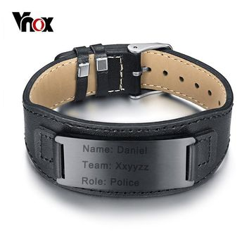 Vnox Free Engraving Genuine Leather Bracelet for Men Woman Stainless Steel ID Cuff Bangle Adjustable Customized