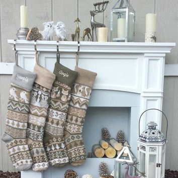 "Personalized Knit Christmas Stockings Large 28"" Earth Tone Modern Fair Isle Owl Fox Squirrel Bird Knitted Intarsia Nordic Woodland"