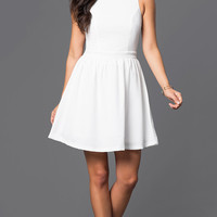 Sleeveless Short Graduation Dress, Back Bow