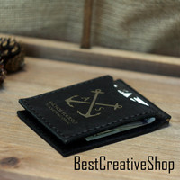 Money Clip Wallet / Leather Wallet  / Anchor Wallet / Leather Wallets for Men / Anchor Stuff Collection / Bifold Wallet / Minimalist Wallet