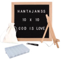 """Black Felt Letter Board 10x10 Inches. Changeable Letterboards Include bag, 790 (340 ¾""""+ 450 1"""") White Plastic Letters, Numbers, Special Characters, Emojis , Symbols, and Punctuation, Sorting Tray Case, Oak Frame & Easel"""