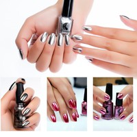 SexeMara New Fashion New Metallic Mirror Nail Polish Sexy Color Stainless Steel Silver Mirror Silver Nail Polish Nails Art Tools