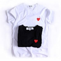 Hot Sale Comme des garçon play Black White Print Tee Shirt Top