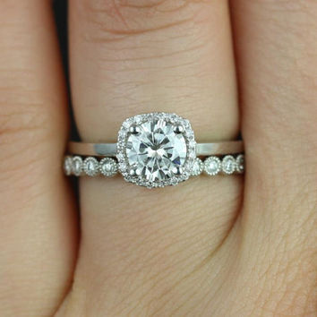 Bella 6mm & Petite Bubbles 14kt White Gold FB Moissanite and Diamonds Cushion Halo Wedding Set (Other metals and stones available)