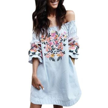 Fashion Women Floral Printed Ladies Summer Beach Party Off Shoulder Mini Dress elegant Print Flower Shoulder straight Dresses