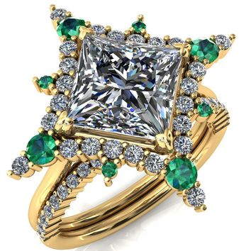 Thalim Princess/Square Moissanite 4-Point Star Emerald and Diamond Halo Ring
