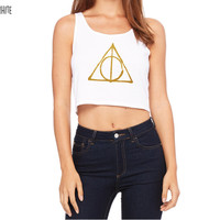 Harry Potter Inspired Clothing - SPECIAL EDITION - Deathly Hallows Symbol in Gold Glitter Crop Top Tank - Ladies