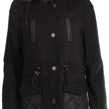 Bellfield Aprel Wool Mix Hooded Duffle Parka Coat