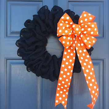 Halloween Burlap Wreath Orange Polka Dots Black Wreaths Orange Door Decor Cute Wreath