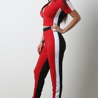 Colorblock Zip-Up Crop Top With Pants Set