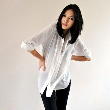 Office Fashion Fall Sheer White Shirt Long by andwhatelseisthere