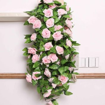 1 X Artificial Rose Flower Vine Flower Green Leaf Vine Garland Synthetic Rattan Hammock Rattan Outdoor Decoration Rose FLower