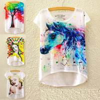Alisister 21 Colors Women Painting Art T Shirts Print Rainbow Unicorn Pony T-shirt horse/Grumpy Cat/Marilyn Monroe Tees Tops