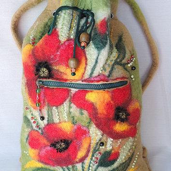 Wool backpack, Felted backpack, Backpack with flowers
