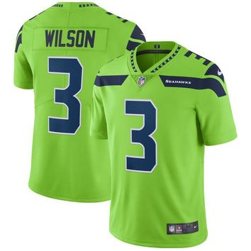 Men's Seattle Seahawks Russell Wilson Nike Neon Green Vapor Untouchable Color Rush Limited Player Jersey