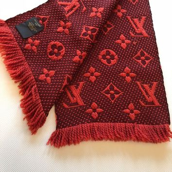 LOUIS VUITTON Logomania Wool Scarf Red (Authentic)