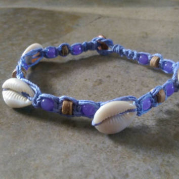 Cowrie Shell Anklet, Hemp Anklet, Cowrie Shell Jewelry, Lavender, Summer Fashion, Beach Jewelry, Coconut, Gift for Her, Free USA Shipping