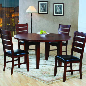 AMEILLIA COLLECTION REGULAR SIZE 5 PC DINING TABLE SET WITH  60IN RD DROP LEAF TABLE