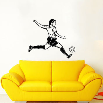 Soccer Decals Wall Sticker Sport Sportswoman Girl Women Decals Wall Vinyl Sticker Interior Home Decor Art Wall Decor Bedroom Mural SV5972