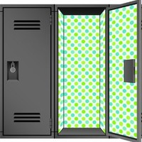 Locker Designz Deluxe Magnetic Locker Wallpaper, Polka Dot Cool (Blue/green)