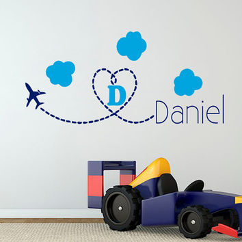 Plane Wall Decal Boy Personalized Name Stickers Clouds Sky Vinyl Decals Monogram Art Mural Bedroom Decor Interior Design Nursery Decor KY114