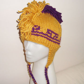 Teenagers Purple and Mustard Yellow Mohawk Hat, Womens Teen Girls Winter Fashion Accessories