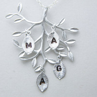 Family Tree FOUR Initial Necklace Mothers by DanglingJewelry