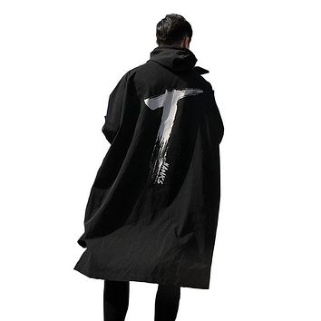 2017 Spring Long Thin for Men Windbreaker Trench Coats printing Hooded Outwear Drawstring Windproof Waterproof Black Overcoat