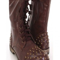 Brown Faux Leather Lace Up Studded Combat Boots @ Amiclubwear Boots Catalog:women's winter boots,leather thigh high boots,black platform knee high boots,over the knee boots,Go Go boots,cowgirl boots,gladiator boots,womens dress boots,skirt boots,pink boot