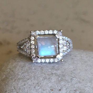 Engagement Square Moonstone Ring- Rainbow Moonstone Ring- Promise Ring- Gemstone Ring- June Birthstone Ring- Rainbow Ring- Solitaire Ring