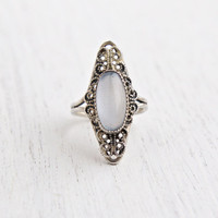 Vintage Sterling Silver Faux Moonstone Ring - Retro Filigree Signed Beau Adjustable Faux Moonstone Jewelry / Pale Blue Statement