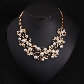 Pearl Necklaces & Pendants Leaves Statement Necklace