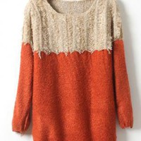 Orange Long Sleeve Sweater with Tassel  S003871