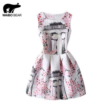 Casual Chinese Style Peach Blossom Print Pattern Sleeveless Vintage Floral Slim Ball Gown Dress One Size Vestidos WAIBO BEAR