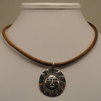 Sterling Silver Sun Face and Leather Necklace by funkybeadwork