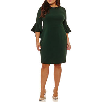 Bisou Bisou Elbow Sleeve Sheath Dress-Plus - JCPenney