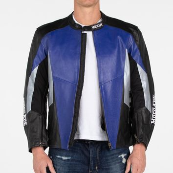 MotoArt Racing Pro Series I Blue, Silver & Black Perforated Biker Motorcycle Leather Jacket