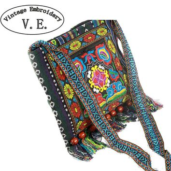 Vintage Embroidery Bag Boho Hobo Messenger Bag Embroidere
